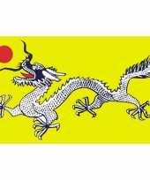 Groene chinese draken vlag 90 x 150 cm trend