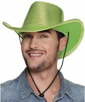 Groene cowboyhoed howdy pailletten voor volwassenen trend