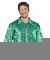 Groene disco overhemden met rouches trend