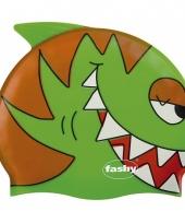 Groene kinder badmuts met vissen trend