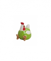 Groene kippen deco beeldje 8 cm trend