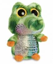 Groene krokodillen knuffel 20 cm met grote ogen trend