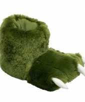 Groene monsterpoten pantoffels voor dames trend