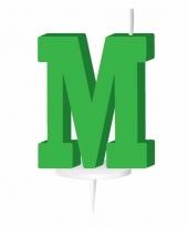Groene naam kaarsje letter m trend