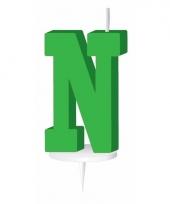 Groene naam kaarsje letter n trend