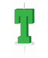 Groene naam kaarsje letter t trend