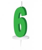Groene nummer kaarsje cijfer 6 trend