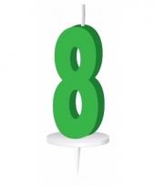 Groene nummer kaarsje cijfer 8 trend