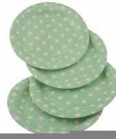 Groene wegwerp bordjes met witte stippen 8x trend