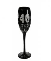 Groot zwart glitter glas 40 jaar trend