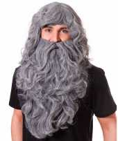 Grote grijze pruik met baard lang trend