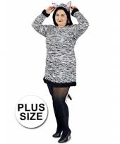 Grote maat feest zebra verkleedoutfit voor dames trend