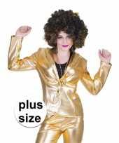 Grote maat gouden disco seventies colbert jasje voor dames trend