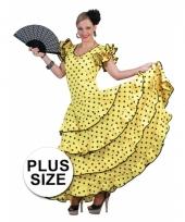 Grote maat spaanse flamencojurk geel met zwarte stippen trend