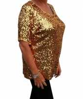 Grote maten gouden glitter pailletten disco shirt dames xl trend