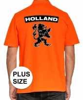 Grote maten koningsdag poloshirt holland met leeuw oranje heren trend