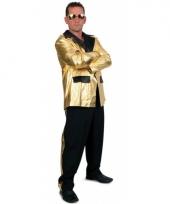Grote maten kostuum 2 delig voor heren zwart goud trend