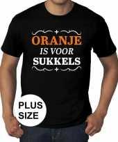 Grote maten oranje is voor sukkels shirt zwart heren trend