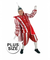 Grote maten prins carnaval outfit rood wit trend