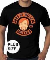 Grote maten sons of willem zwart-shirt heren trend