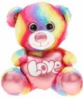 Grote pluche knuffelbeer regenboog 80 cm trend