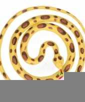 Grote rubberen speelgoed python slangen geel bruin 137 cm trend
