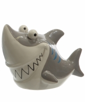 Haaien spaarpot grijs 24 cm trend