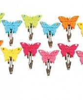 Haarspeldje met vilten vlinders 12 stuks trend