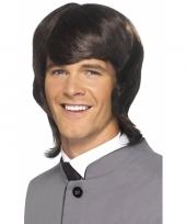 Halflange heren pruik 60s stijl bruin trend