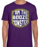 Halloween booze monster verkleed t-shirt paars voor heren trend