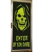 Halloween deur decoratie poster met skelet trend