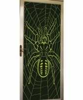 Halloween deur decoratie poster met spin trend