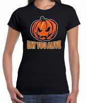 Halloween eat you alive verkleed t-shirt zwart voor dames trend