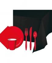 Halloween feestpakket zwart rood 8 persoons trend