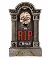 Halloween grafsteen rip met led ogen en bewegende kaak 60 cm trend