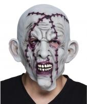 Halloween grijs horror halloween masker met nietjes van latex trend