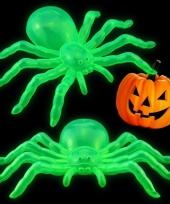 Halloween halloween versiering glow in the dark spinnen 14 cm 2x stuks trend
