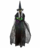 Halloween halloween versiering heks pop met licht en geluid 180 cm trend