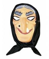 Halloween heksen masker grijs haar met hoofddoek trend
