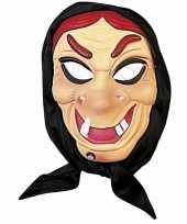 Halloween heksen masker rood haar met hoofddoek trend