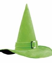 Halloween heksenhoed groen met gesp trend