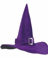 Halloween heksenhoed paars met gesp trend
