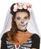 Halloween horror tiara met bloederige rozen en sluier trend
