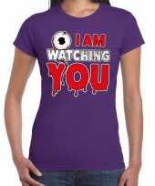 Halloween i am watching you verkleed t-shirt paars voor dames trend