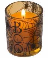 Halloween kaars oranje in glazen houder 6 cm trend