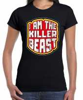 Halloween killer beast verkleed t-shirt zwart voor dames trend