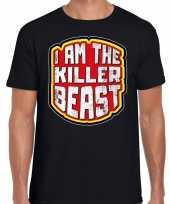 Halloween killer beast verkleed t-shirt zwart voor heren trend