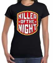 Halloween killer of the night verkleed t-shirt zwart voor dames trend
