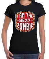 Halloween sexy zombie verkleed t-shirt zwart voor dames trend