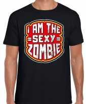 Halloween sexy zombie verkleed t-shirt zwart voor heren trend